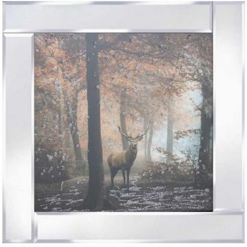 Woodland Deer Picture on Mirror Frame with Glitter Detail