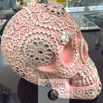 Pink decorative skull ornament with jewel effect, pink skull with mirrored piece