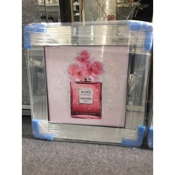 Pink Perfume Bottle Glitter Picture with Mirror Frame