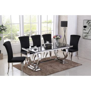 Black glass Venice dining table 1.8m wide with circle chrome leg & 4 chairs