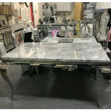 1.5 Louis Marble Dining Table With 4x Grey Lion Knocker Chairs