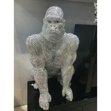 Large Silver Electroplated Gorilla Ornament