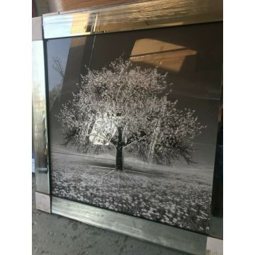 Silver Blossom Tree 3D Glitter Picture in mirrored frame