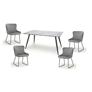 Grey and white marble effect dining table with black pin legs & 4 velvet chairs