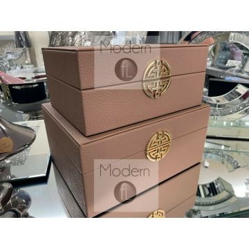 Stunning set of 2 rose pink and gold faux leather jewellery boxes geometric design