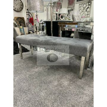 Luxury Grey velvet dining Bench with chrome leg, Grey dining bench 140 cm wide