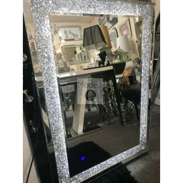 120 x 80 Crushed Crystal LED wall mirror, Crystal light up sparkle wall mirror