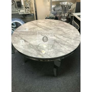 Marble Louis round dining table with x4 Lion knocker chairs