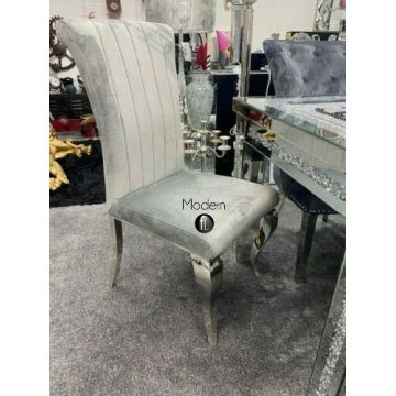 Pair of Louis Style Grey velvet Dining Chair