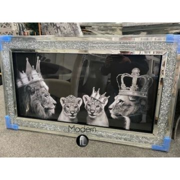 Lion pride of the family wall picture in mirrored frame in crushed crystal frame