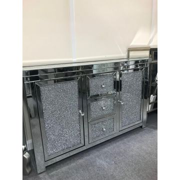 Mirrored Crushed Crystal Sideboard with 3 Drawers and 2 Cupboards