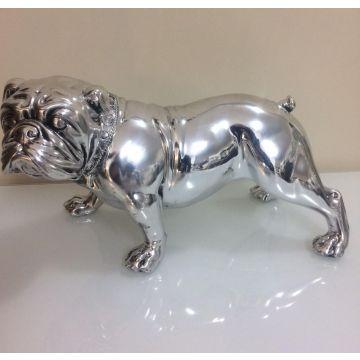 Silver ceramic bulldog