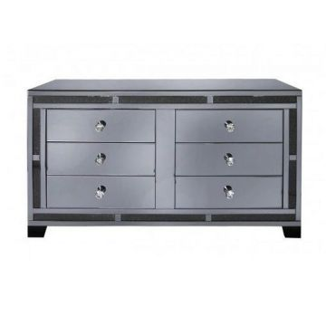 Smoked mirrored crushed diamond bedroom drawers