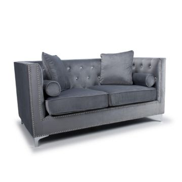 Grey Diamante 2 Seater Brushed Velvet Sofa