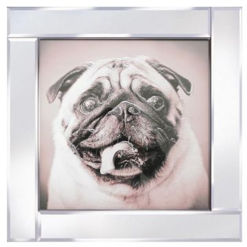 Sparkly pug glitter picture with mirrored frame
