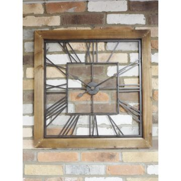 Square metal industrial style wall clock