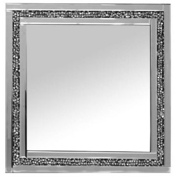 Silver Crushed Crystal Square Wall Mirror