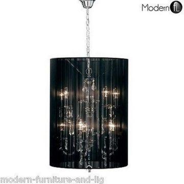 Stunning 10 light crystal droplet chandelier black shade, crystal ceiling light