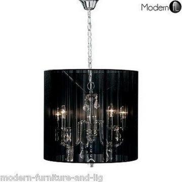 Stunning 5 light crystal droplet chandelier black shade, crystal ceiling light