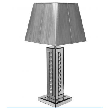 Crystal Table Lamp with Silver String Shade