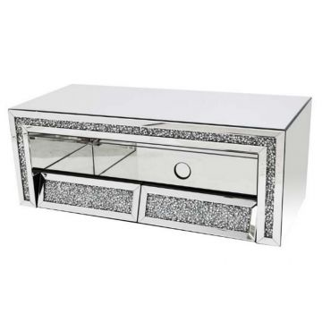 Angled Drawer Mirrored TV Stand with Crushed Crystal Effect