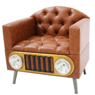 Stunning Retro occasional chair, leather effect car style headlight chair