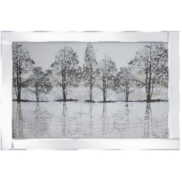snowy tree by water 3D picture glitter in mirrored frame, frosty glitter detail