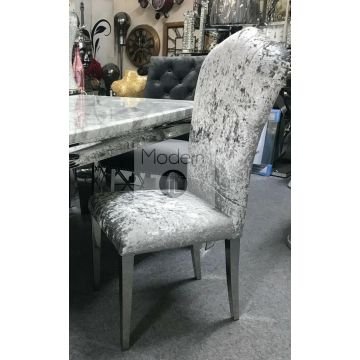 2x Silver Crushed velvet dining chairs