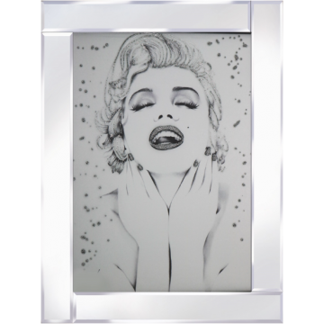 Glitter sparkle Marilyn Monroe in mirrored frame, Marilyn glitter art