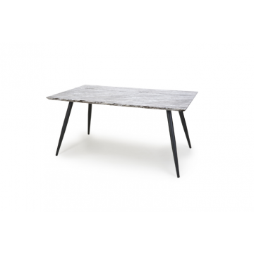 Grey and white marble effect dining table with black pin legs 160cm wide