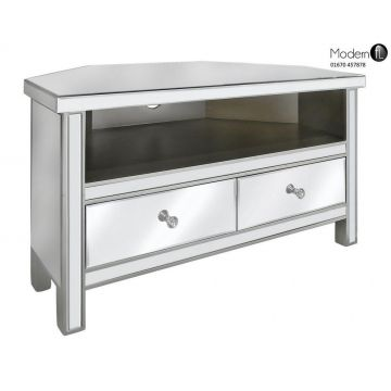 Venetian mirrored corner tv stand, mirrored corner tv cabinet with 2 drawers
