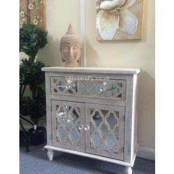 Washed wood mirrored sideboard with mirrored doors