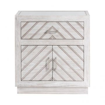 Parquet Washed Wood 2 Door Sideboard with Mirrored Top