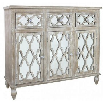 Washed wood sideboard with mirrored front