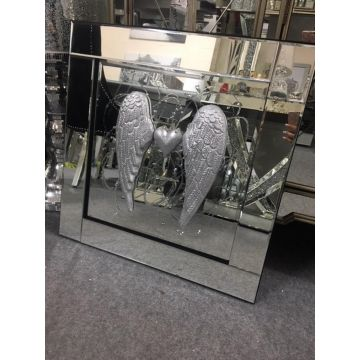 3D Angel Wing & Heart Picture with Mirrored Frame